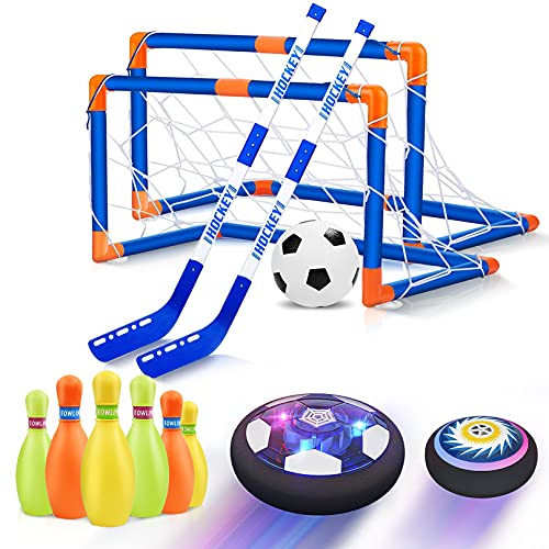 Hover Soccer Ball Set, 3-in-1 Hover Hockey Bowling Set for Kids, Rechargeable Floating Air Soccer Ball w  Led Lights for Indoor Outdoor Sports Game Toys Gifts for Kids Boys Girls Ages 3 4 5 6 7 8-12