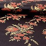 Brokatstoff schwarz terrakotta Blumen - Preis gilt für 0,5