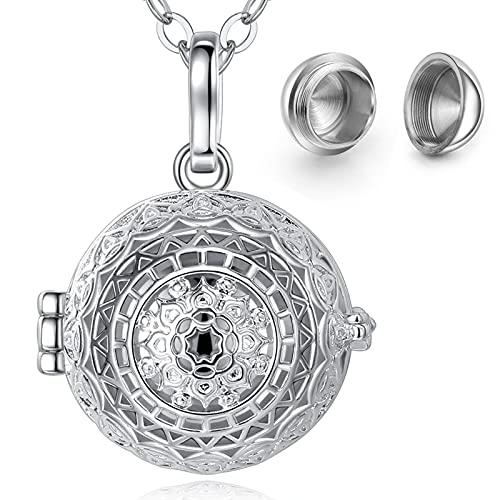 CELESTIA Mujer Collar Ceniza Urna, Mandala Medallón Colgante para Cenizas, Joyas Conmemorativas de...