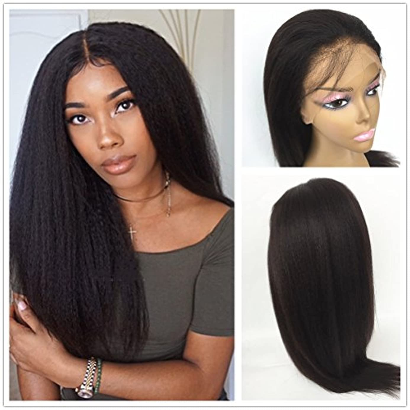 JYL Hair Italian Yaki 360 Lace Frontal Wig Pre Plucked Bleached Knots 150% Density Lace Front Human Hair Wigs For Women 360 Lace Wig Lace Front Wigs Human Hair with Baby Hair (14