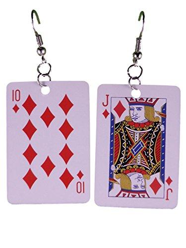 Ohrringe Ohrhänger Hänger Karte Kartenspiel Karo Bub Prinz leicht am Ohr 8297