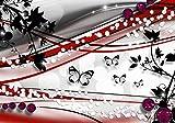 wandmotiv24 Fototapete Schmetterling Ranken Rot XXL 400 x 280 cm - 8 Teile Fototapeten, Wandbild, Motivtapeten, Vlies-Tapeten Grau, Schwarz, Weiß M1552