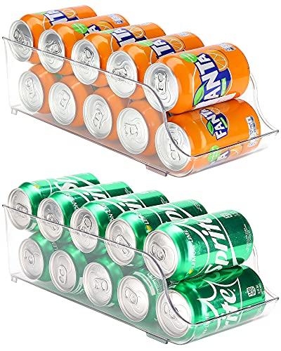 Puricon 【2Packs】 Organizador de Latas y Botellas para Refrigerador, Contenedores Apilables de Plástico para Almacenamiento de Bebidas, Frutas, Verduras, Aperitivos, etc. -Transparente