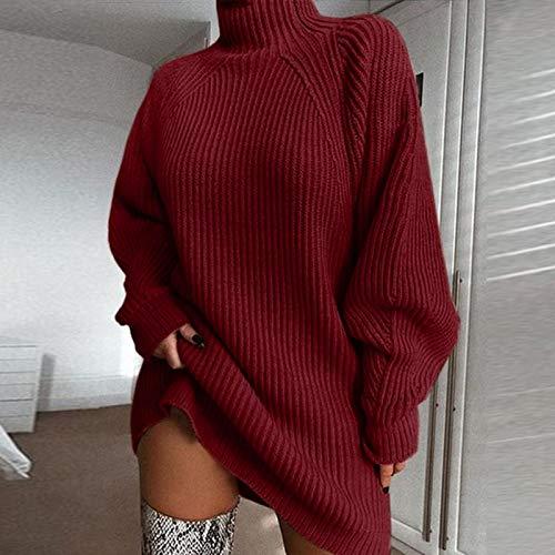 Vestido de Mujer Vestido suéter de Manga Larga con Cuello Alto Forefair, túnica Suelta de Punto para Mujer, Ropa informa
