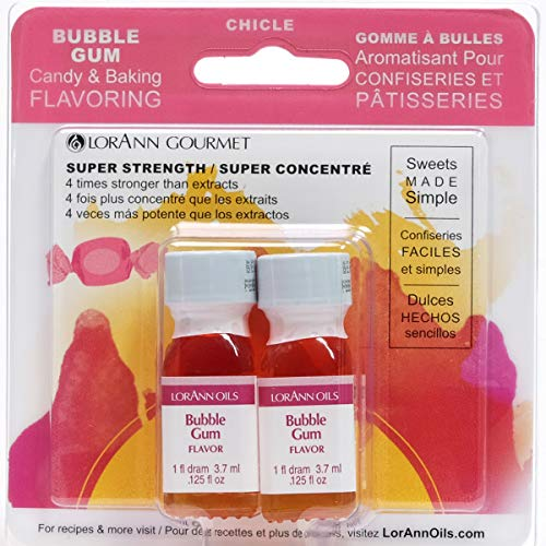 LorAnn Bubble Gum Super Strength Flavor, 1 dram bottle (.0125 fl oz - 3.7ml) Twin pack blistered