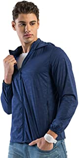 Men's Softshell Jacket, Couple Lightweight Breathable Coat Elastic Sunscreen Windbreaker for Running Cycling Biking and Travelling,Navy,4XL
