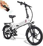 Elektrofahrrad E-bike Mountainbike Klapprad 20 Zoll mit 48V 10,4Ah Lithium-Akku, 350 W Motor 25 km/h, 7-Gang-Diebstahlalarm,Smartphone-Halter Elektrische E-Bike MTB für Outdoor Herren Damen