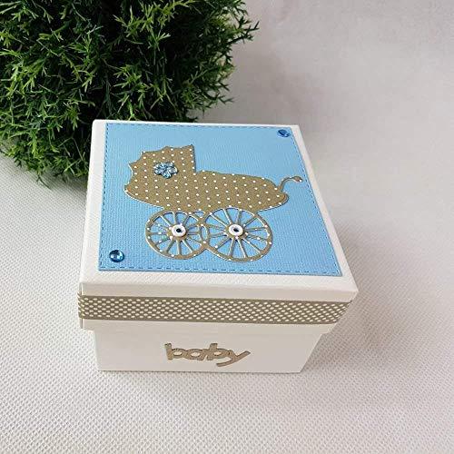 Geschenkschachtel Geldgeschenk BABY Taufe Geburt blau-taupe mit Kinderwagen