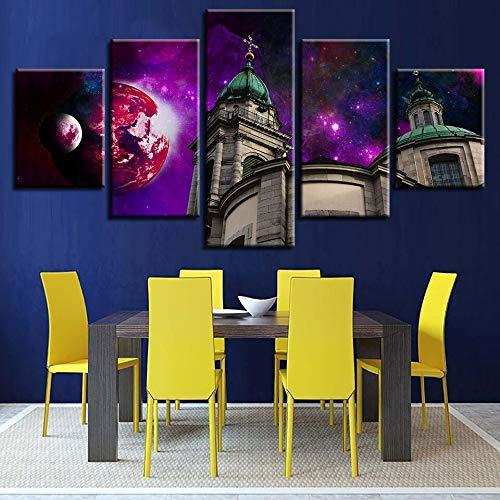 Fotolijst Art Deco Living Room Wall Modern Print 5 Abstracte planeten en architectonisch landschap schilderwerk canvas modulair L-30x40 30x60 30x80cm Frame