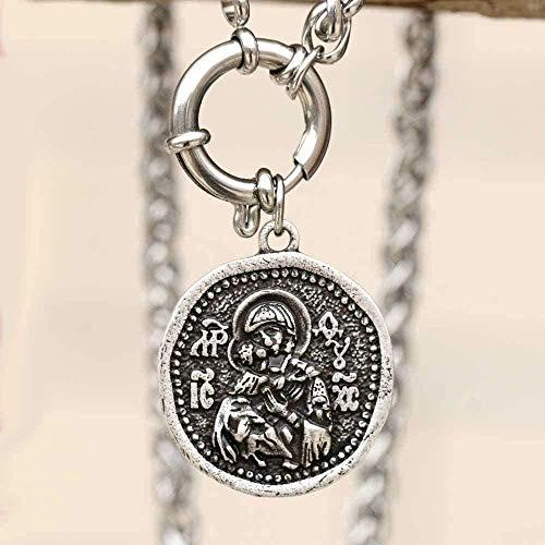 Yiffshunl Collar de Medalla milagrosa, Collar con Icono ortodoxo, Collar Griego para Hombres, Collar con Colgante religioso, Regalo para niñas y niños