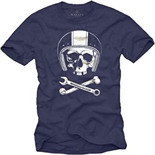 Tee Shirt Originaux Mécanicien Casque Moto avec Skull