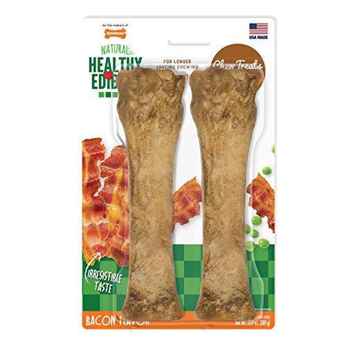 Nylabone Healthy Edibles All-Natural Long Lasting Bacon Chew Treats 2 Count Souper - 50+ lbs