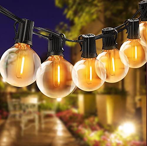 Guirnaldas Luces Exterior, TOGAVE Guirnaldas luminosas de Exterior IP44 Impermeable 25 LED G40 Bombillas y 4 Bombilla de Repuesto Luces Decorativas para Jardín,Terraza, Patio, Navidad - Blanco Cálido