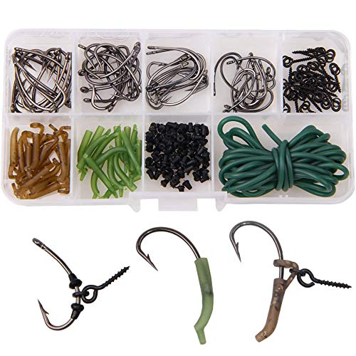 Shaddock 121 Stück Karpfenangeln Zubehör inklusive Karpfenhaken Anti Tangle Sleeves Line Aligner Hülsen Köderschraube Rig Ring Stops für Karpfenzubehör