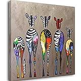 Cuadros abstractos de la lona de la cebra en la pared Animales coloridos Arte impresiones animales africanos arte imágenes para la sala de estar pared Unframe-style1 32 x 32 pulgadas (80 x 80 cm)