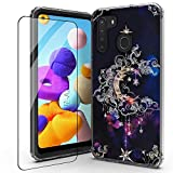 for Samsung A21 Case,Galaxy A21 Phone Case, Tempered Glass Protector, 2 in 1 Shockproof Phone Case,for SAM A21. (Wiccan)