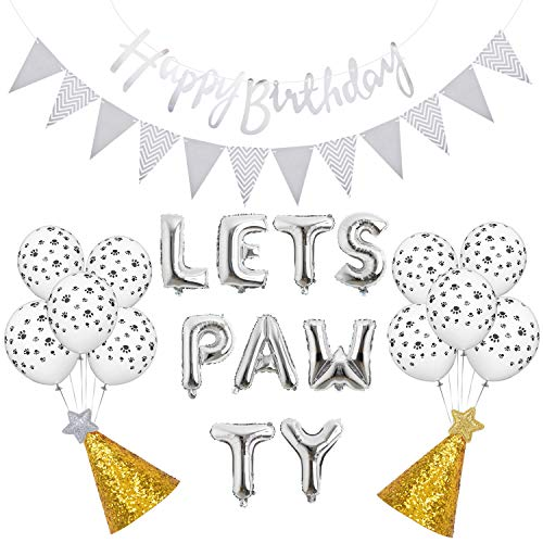Legendog 23PCS Party Decor Set Fashion Party Banner Kegel Party Balloon met pomp, Zilver.