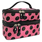 Cosmetic Bag MakeUp Case Double Layer Dot Pattern Portable Waterproof Wear Resistance Durable With 2 Zipper Holder With Mirror Travel Toiletry Bag Organizer (Red Rose)