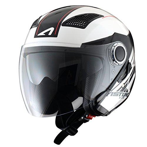 Astone Helmets Jethelm Fasern, Espada Weiß/Schwarz, L