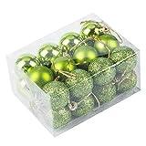 クリスマスボール 3 cm クリスマスツリーの飾り クリスマス飾り 24ボール クリスマス要素 (グリーン, 3cm)