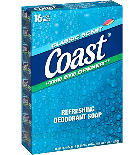 Coast Refreshing Deodorant Soap Bar - 16 Bars - Thick Rich Lather Leaves Your Body Feeling Energized And Clean - Classic Pacific Force Scent