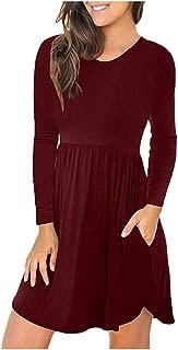 YOCheerful Plain Dresses Women's Fashion Long Sleeve Loose Dresses Autumn Casual Pockets Short Dress