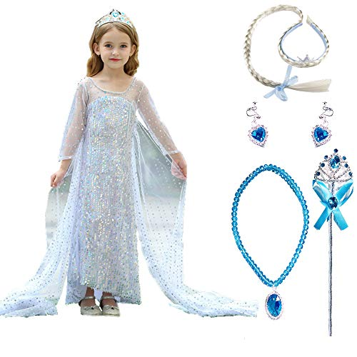 TIMSOPHIA Disfraz de Princesa Niñas Disfraces de Princesa Frozen Elsa Vestidos de Princesa para niña Vestido de Fiesta Elegante Cosplay Carnaval Ceremonia Cumpleaños Halloween