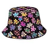 136 Sombrero de verano para jugar con puzles con estampado brillante, transpirable, para niñas