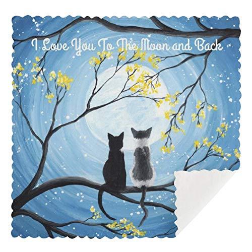 Juego de 2 toallas de cocina reutilizables, con diseño de gato «I Love You To The Moon And Back» y «I Love You To The Moon And Back» y «I Love You To The Moon And Back