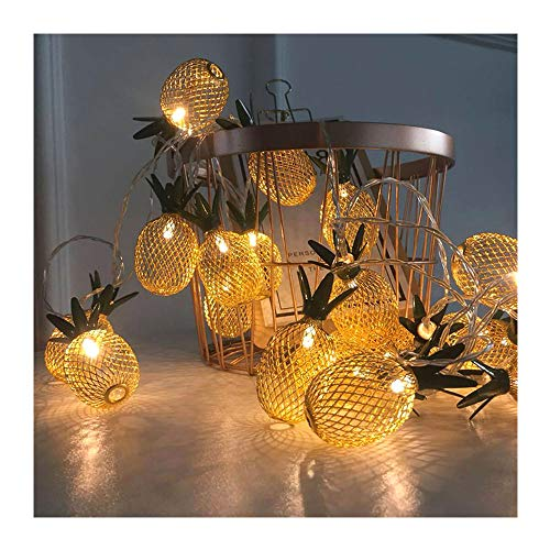 Meliya 20 LED Pineapple Fairy String Lights Waterproof Battery Powered Curtain Indoor/Outdoor Decorative Lighting,3m