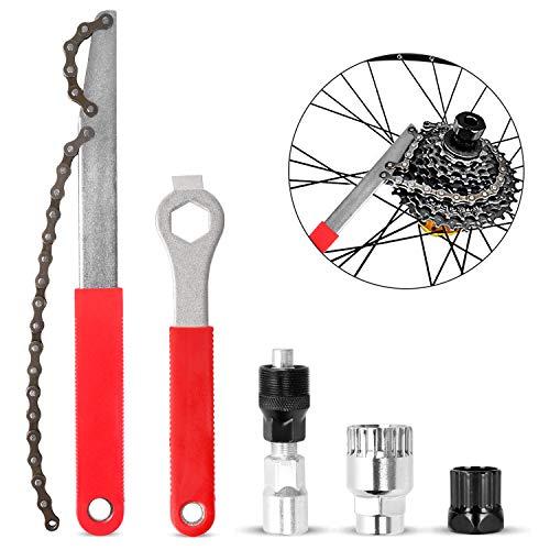 Odoland Kit de Herramientas de Reparación de Bicicletas, Incluye Extractor de Manivela de Bicicleta con Llave Inglesa de 16 mm, Herramienta de Extracción de Piñón de Cadena de Bicicleta