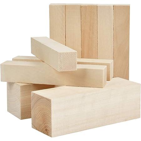 YOTINO Lot de 10 Bois à Sculpter Bricolage, Bloc de Bois Brut Lisse pour Sculpture, Artisanat et Menuiserie - 2 pcs 15x5x5cm et 8 pcs 15x2,5x2,5cm