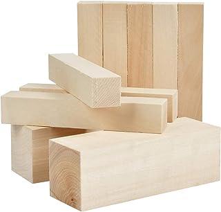 YOTINO Lot de 10 Bois à Sculpter Bricolage, Bloc de Bois Brut Lisse pour Sculpture, Artisanat et Menuiserie - 2 pcs 15x5x5...