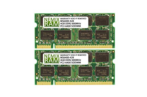 8GB (2x4GB) DDR2-800MHz PC2-6400 2Rx8 1.8V SODIMM Memory for Laptop, Notebook