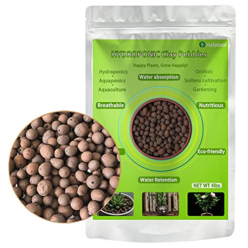 Halatool 4 LBS Organic Clay Pebbles, 4mm -16mm 100% Natural Expanded Clay Pebbles for Hydroponic Gardening, Orchids, Drainage, Decoration, Aquaponics
