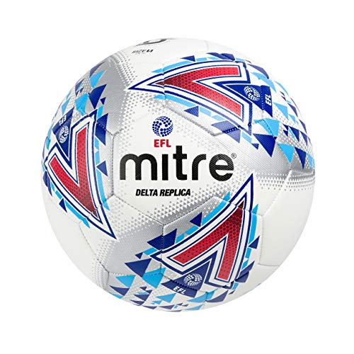 Mitre Delta Replica Soccer Ball, White/Blue/Red, Size 5