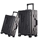 Set di valigie da viaggio in due pezzi trolley valigia bagagli 20 pollici 24 pollici TSA Lock alluminio-magnesio lega portatile Carry On con ruote Spinner Business Travel Bag Blacke