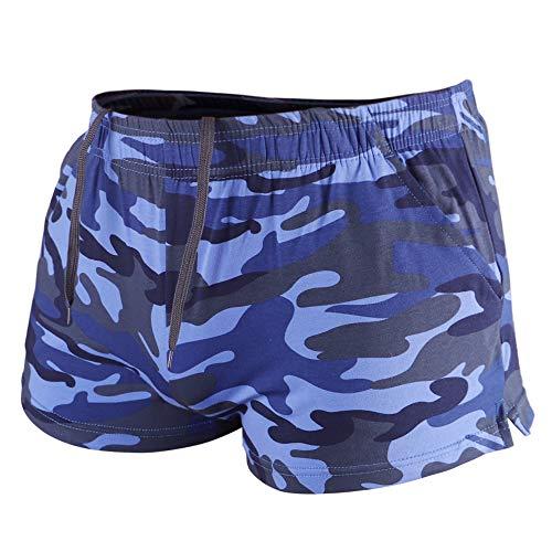 Muscle Alive Uomo Sport All'aperto in Esecuzione Pantaloncini Allenarsi Fitness Men Shorts Camo Blu L