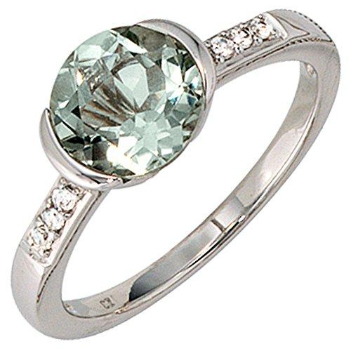 JOBO Damen-Ring aus 585 Weißgold mit Amethyst und 6 Diamanten Größe 54
