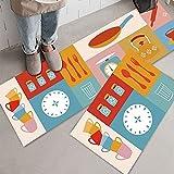 Alfombrillas de Cocina para decoración del hogar, alfombras Antideslizantes para lavadero de baño, Alfombrillas de Entrada para el Dormitorio de la Sala de Estar A6 50x80cm + 50x160cm