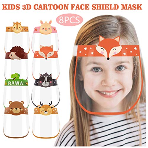 N / A Bixmox Face coverings, Transparent Facial Protection Screen, Protective Face Visors, Adjustable Elastic for Kids Lightweight Plastic, Drops and Dust 8PCS
