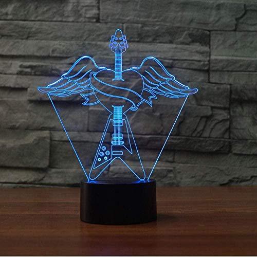 Baby Spielzeug Color 3D USB luces de noche forma de corazón alas de ángel guitarra formando lámparas de mesa LED romántica cabecera decoración regalo luces