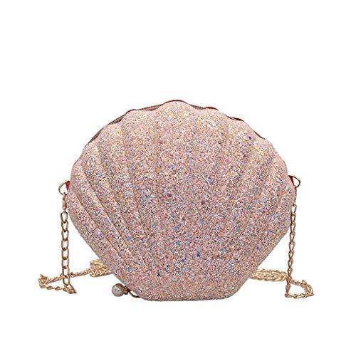Arbeiten Sie Glänzende Muschel Crossbody Tasche Handtasche Schultertasche Für Frauen Dame Student, Wilde Schulter Kettenbeutel Beiläufige Handtaschen Abend Geldbörse Um (Rosa)