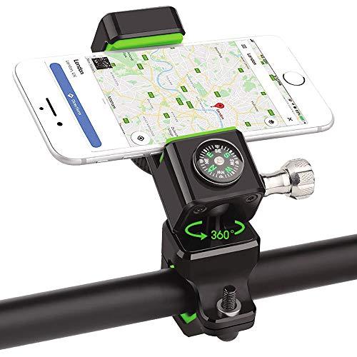PRUNUS Handyhalterung Fahrrad,Motorrad Handyhalterung mit Dickem Silikonpad Stoßfest,360 Grad Drehung Outdoor Fahrrad Halter für 4-6 Zoll Smartphones.