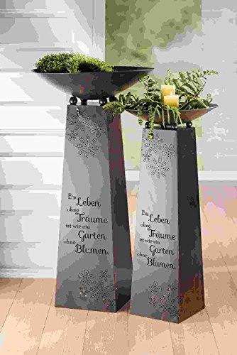 GILDE Metall Schalenständer EIN Leben Dunkelbraun bestehend aus Ständer+Schale H = 102 cm D = 50 cm