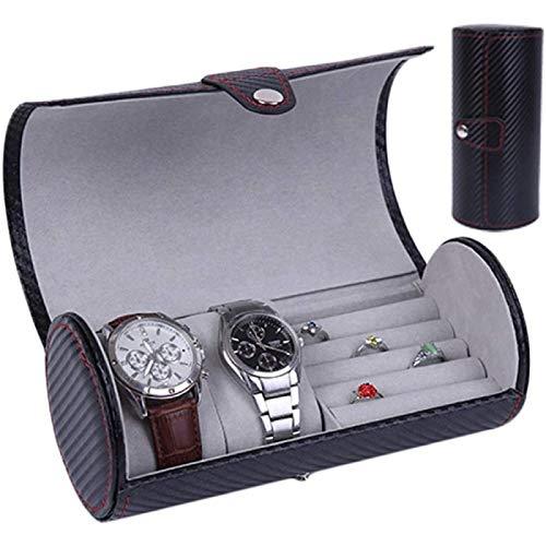 ANZRY Caja de Almacenamiento de Reloj Caja de Exhibición de Joyería Caja de Almacenamiento Pendientes Organizador de Almacenamiento Cuero de PU para Hombres Mujeres Caja de Reloj Caja de Reloj