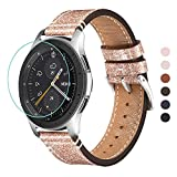 WFEAGL Compatible avec Bracelet Samsung Galaxy Watch 42mm/Gear S2 Classic/Gear Sport/Huawei Watch 2,20mm Supérieur en Cuir à Dégagement Rapide Bracelet (20mm, Mousseux Or Rose+Boucle Argent Square)