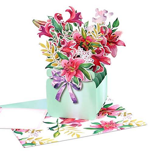 Giiffu Lily Vase Bouquet Flower 3D Pop Up Karte, Muttertagskarte, Dankeskarten, Gute Besserung Karte, Pop Up Geburtstagskarte, 3D Pink Lily Blumen Karte, Papier Blumenstrauß Karte