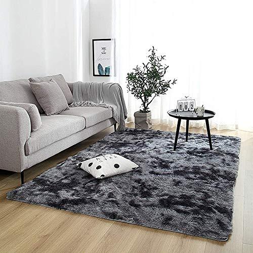 JINGMIAO Tappeto grigio in peluche morbido per soggiorno, camera da letto, tappeto antiscivolo per camera da letto, camera da letto, camera da letto