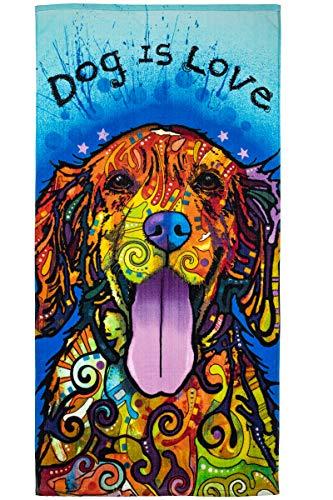 Dean Russo Super Soft Plush Cotton Beach Bath Pool Towel (Dog is Love)